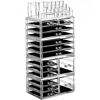 Acrylic Jewelry and Makeup Organizer Storage Drawer Five Pieces Set (8 Small, 2 Square, and 5 Large Drawers) | Nile Corp
