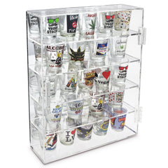 Mirror Backed & 4 Glass Shelves Shot Glasses Display Case Holder Display Holder Cabinet | Nile Corp
