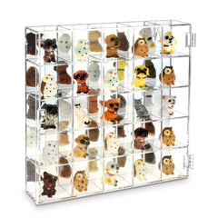 #COT1855 Mountable 25 Compartments Display Case Cabinet Stand with Mirrored Back - Display Shelves for Collectibles