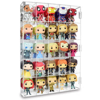 #COTM4025 Acrylic Display Rack for Funko Pop Figure Display, with Mirrored Back & 25 Compartments