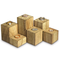 Wooden Ring Riser 6 Pieces Display Set | Nile Corp