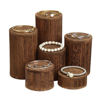 #DPW515-BR Wooden 6 Pcs Round Risers Display