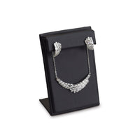 #ED-0461L-BK Black Leatherette Earring and Necklace Display Stand