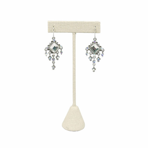 "#ED-2402N-LE Medium Metal ""T"" Shape Earring Stand Burlap Linen"