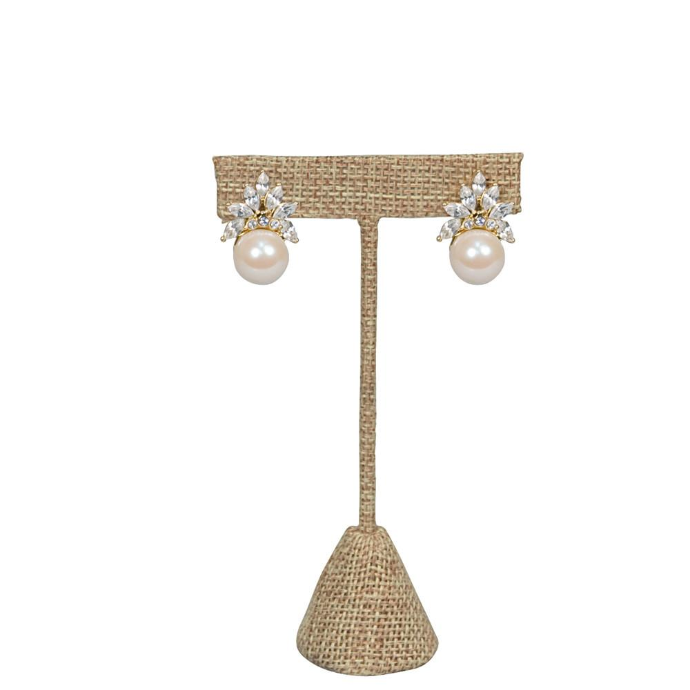 "Small ""T"" Shape Earring Stand Burlap Linen -Nile Corp"