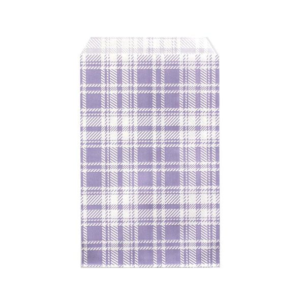 #EN-8167-LV Paper Gift Bag, Lavender Color Plaid Pattern | Nile Corp