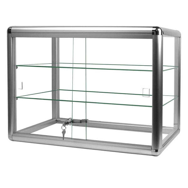 #F-1301-S Aluminum Frame Counter Top Glass 2-Shelf Display Case | Nile Corp