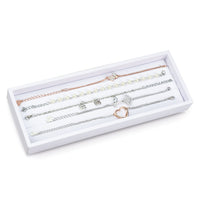 #F8-14 White Leatherette Bracelet Display Tray