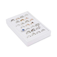 #F8-1 White Leatherette Vertical Ring Display Tray