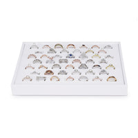 #F8-21 White Leatherette Horizontal Ring Display Tray