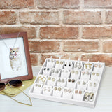 #F8-22 White Leatherette Earring Cards Display Tray