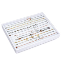 #F8-24 White Leatherette Bracelet Display Tray