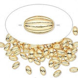 Corrugated Brass Oval Beads, 5mm x 3mm | Nile Corp