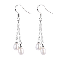 #GIF-6503E Silver Plated Freshwater Cultured Pearl Drop Earrings | Nile Corp