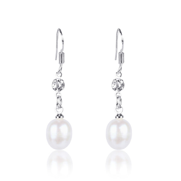 #GIF-6505E Silver Plated Freshwater Cultured Pearl with Rhinestone Drop Earrings | Nile Corp