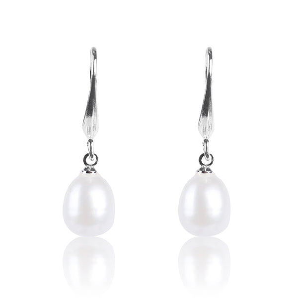 #GIF-P0501E Silver Plated 8mm Drop Freshwater Cultured Pearl Earrings | Nile Corp