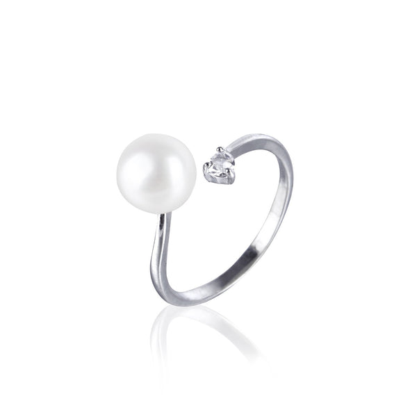 #GIF-P5001R Adjustable Silver Plated Button Freshwater Cultured Pearl with Rhinestone Ring | Nile Corp