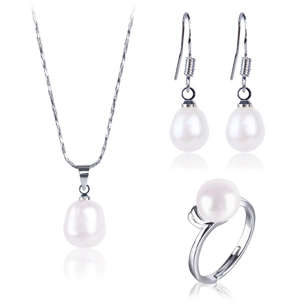 #GIF-P7001SET Silver Plated Freshwater Cultured Ring, Earring, and Necklace Set | Nile Corp