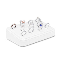 #GR-40 White Leatherette Ring Clip Display