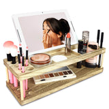 #HOM333 Wooden Makeup Storage Beauty Station & Makeup Brush Holder with Phone Station