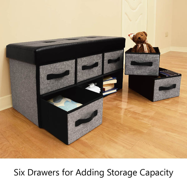 Stupendous Hom3360G Folding Storage Bench Faux Leather Gray Linen Caraccident5 Cool Chair Designs And Ideas Caraccident5Info