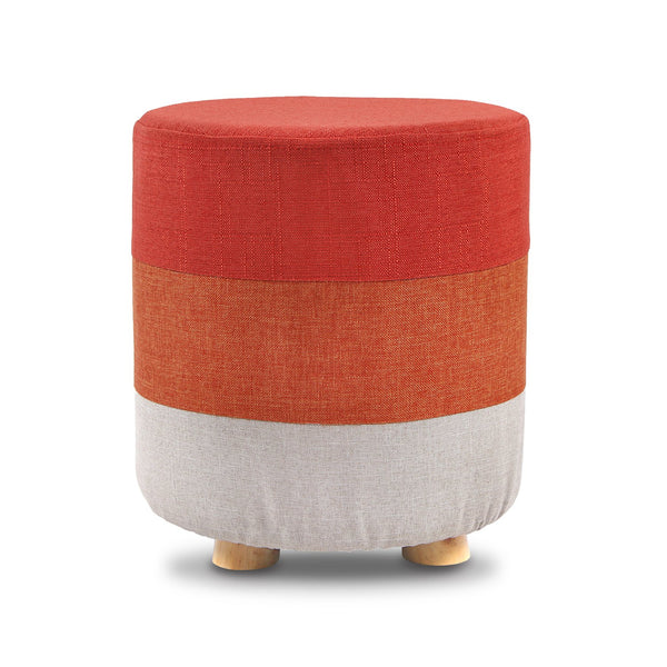 #HOM6420 Wooden Round Upholstered Footstool Footrest with Removable Colorful Polyester Cover