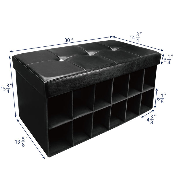 Outstanding Hom6600Bk Folding Storage Bench Faux Leather Black Linen Andrewgaddart Wooden Chair Designs For Living Room Andrewgaddartcom
