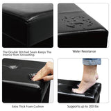#HOM6600BK Folding Storage Bench - Faux Leather, Black Linen Collapsible Foot Rest Stool Seat with 12 Compartments
