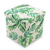 #HOM7420 Tropical Leaves Pattern Folding Storage Ottoman - Split Leaf Philodendron Polyester Collapsible Cube Foot Rest Stool Coffee Table