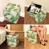 #HOM7421 Tropical Leaves Pattern Folding Storage Ottoman - Areca Palm Polyester Collapsible Cube Foot Rest Stool Coffee Table