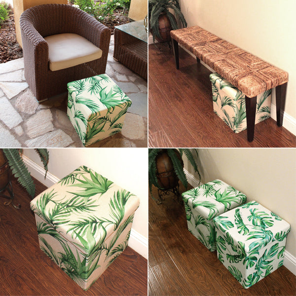 Hom7421 Tropical Leaves Pattern Folding Storage Ottoman