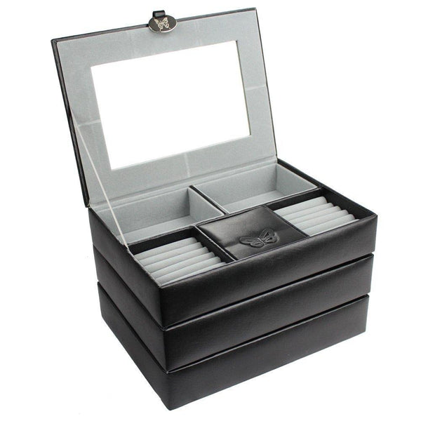 #JB3642 Stackable White Leatherette Jewelry Boxes | Nile Corp