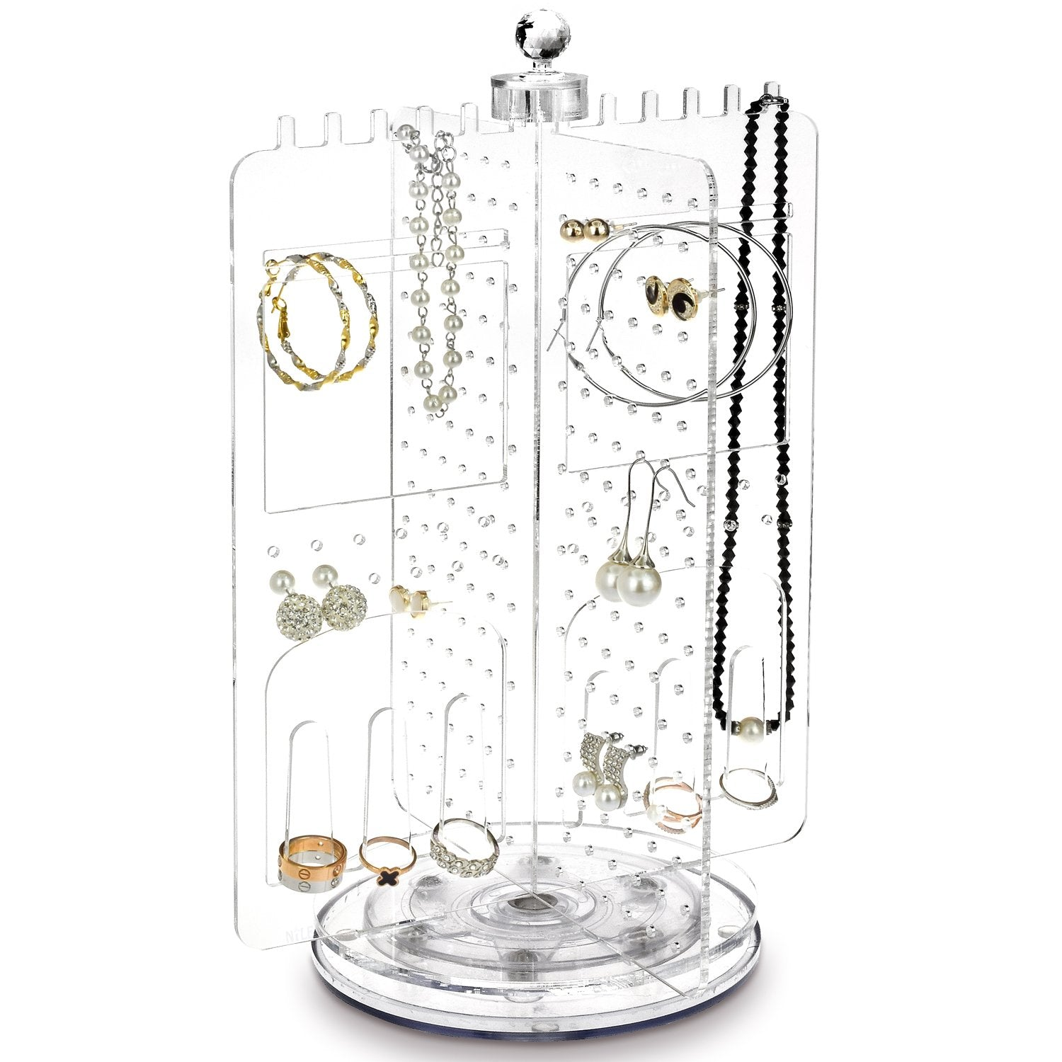 Jwy6065 Acrylic Rotating Jewelry Stand Earring Holder Accessories Organizer 17 05 Nilecorp Com