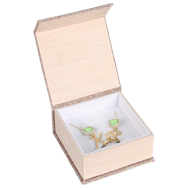 #PJ6C Deluxe Burlap Ring and Pendant Box | Nile Corp