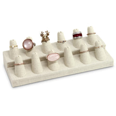 #RD-2462N-LE Burlap Linen Ring Display, 12 Rings