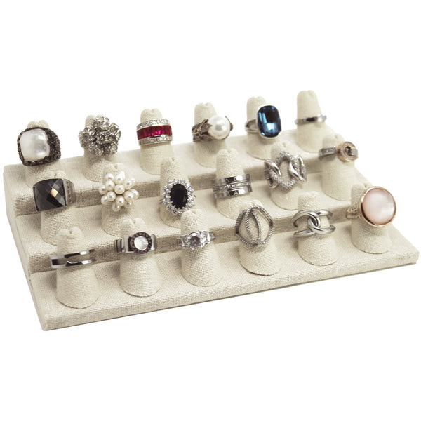 #RD-2468N Burlap Linen Ring Display, 18 Rings
