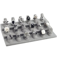 RD-2468N-N21 Gray Linen Ring Display, 18 Rings