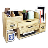 #SAT107 Adjustable Wooden Desktop Organizer Office Supplies Storage Shelf Rack
