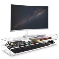 #SAT20110 Acrylic Monitor 3-Tier Storage Riser Stand for Desk & Countertop with 3 Compartments | Nile Corp