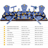 #SET55-W80 Jewelry Display Collection 35-Pieces Set - Blue Faux Suede | Nile Corp