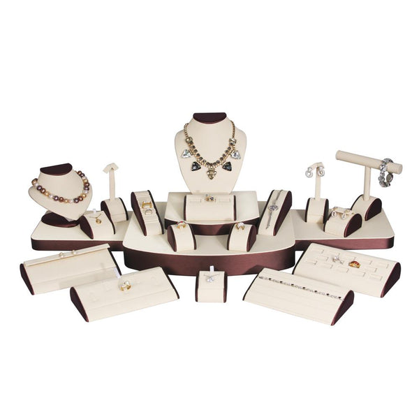 Combination Jewelry Display Set. Beige Leather w/Steel Brown Trim | Nile Corp