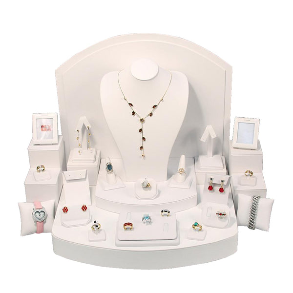 #SET62 White Leatherette Combination Jewelry Display Set | Nile Corp