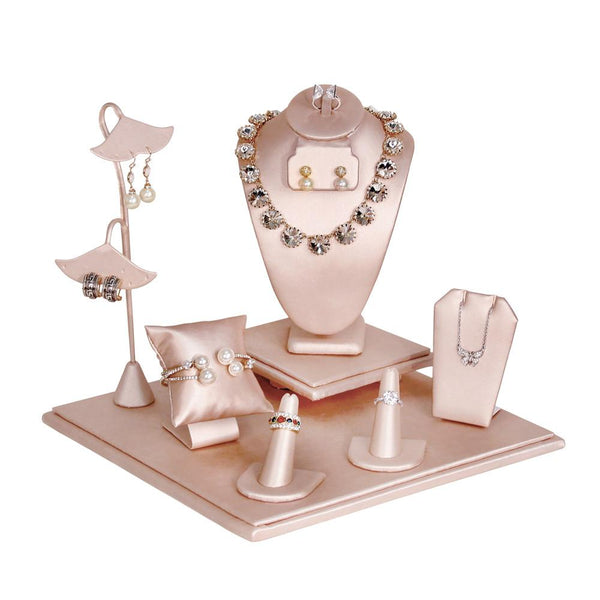 Champagne Jewelry Display Set , Square Base, 9 pcs | Nile Corp