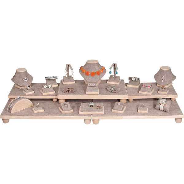 Burlap w/Natural Wood Trim Combination Jewelry Display Set. | Nile Corp