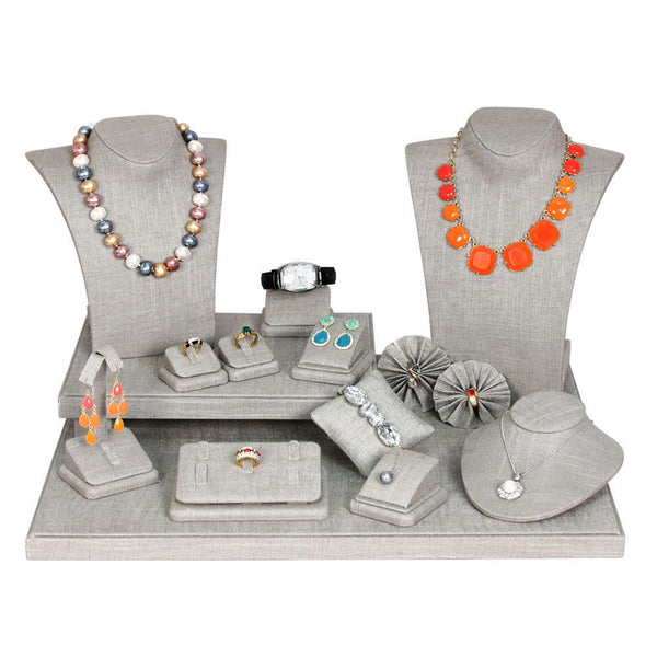 #SET70-N21 Gray Linen Jewelry Display 19 Piece Set | Nile Corp