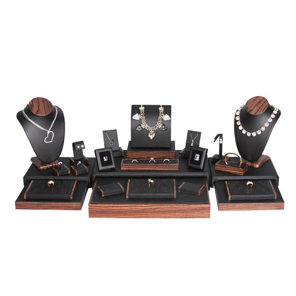 #SET77-T20 Black Leatherette Jewelry Display 22 Piece Set | Nile Corp