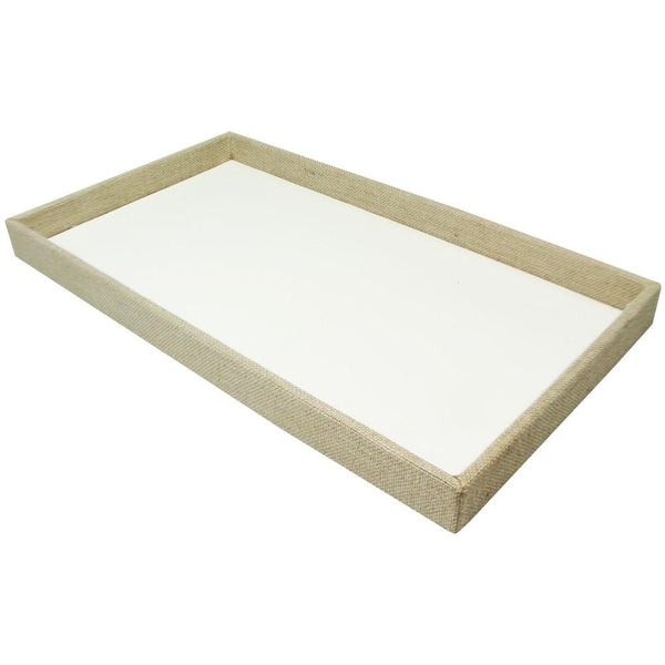 Burlap Linen Covered Wood Tray-Nile Corp
