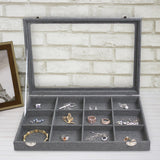 #TRJ2435-GLN Gray Burlap Linen Metal Clip Jewelry Display Case with Glass Top Lid