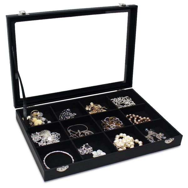 #TRJ2436-BK Black Leatherette Metal Clip Jewelry Display Case with Glass Top Lid