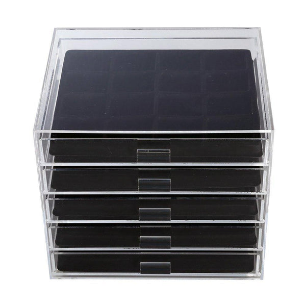 Premium Acrylic 5 Drawer Jewelry Storage Organizer with Black Inserts | Nile Corp  sc 1 st  Nile Corp & Premium Acrylic 5 Drawer Jewelry Storage Organizer with Black ...